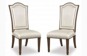 Chateaux Walnut Upholstered Back Side Chair Set of 2