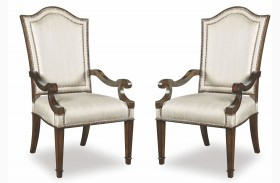 Chateaux Walnut Upholstered Back Arm Chair Set of 2