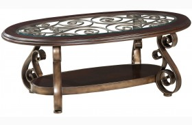Bombay Dark Cherry Oval Glass Top Cocktail Table