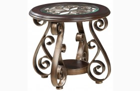 Bombay Dark Cherry Round Glass Top End Table