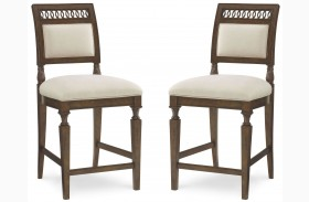 Collection One Jefferson Burnished Pine High Dining Chair Set of 2