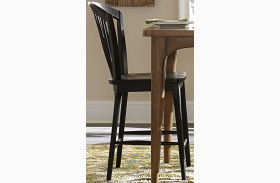Candler Black Windsor Counter Chair Set of 2