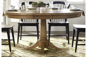 Candler Nutmeg Expandable Round Pedestal Dining Table