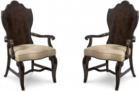 Continental Vintage Melange Wood Back Arm Chair Set of 2