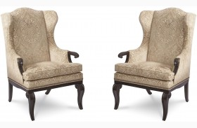 Continental Vintage Melange Wingback Arm Chair Set of 2
