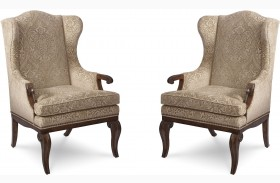 Continental Weathered Nutmeg Wingback Arm Chair Set of 2