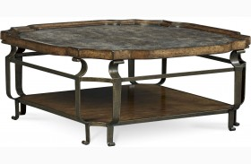 Continental Weathered Nutmeg Square Cocktail Table