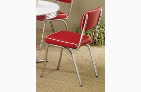 2450R Mix & Match Red Chrome Plated Retro Dining Chair Set of 2