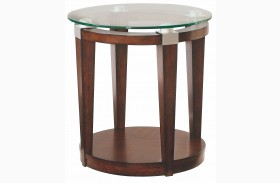 Solitaire Dark Brown Round Accent Table