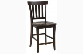 Prospect Creek Dark Brown Slat Back Stool Set of 2