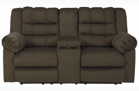 Mort Umber Double Reclining Console Loveseat