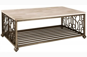 Toscana Antique Pewter Metal Rectangular Cocktail Table