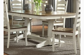 Springfield Honey and Cream Rectangular Extendable Double Pedestal Dining Table