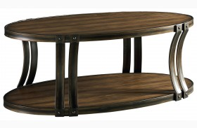 Huntington Smoky Caramel Pine Oval Cocktail Table