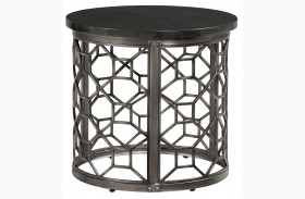 Equinox Round Stone Top End Table