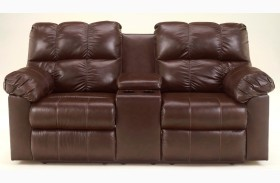 Kennard Chocolate Double Power Reclining Loveseat with Console