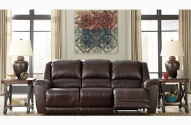Yancy Walnut Power Reclining Sofa