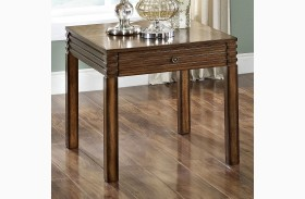 Parquet Burnished Walnut End Table