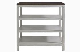 Charleston Regency Gray Linen Rosette Bedside Table