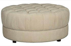 Cotswold Amanda Ivory Round Cocktail Ottoman