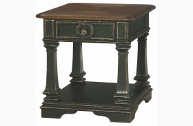 Dorset Black Rectangular Drawer End Table
