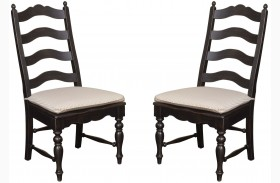 Homecoming Vintage Pine Ladderback Black Side Chair Set of 2