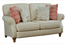 Whitfield Walnut Woven Fabric Loveseat