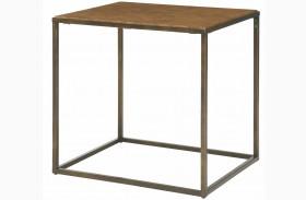Soho Khaki Travertine Rectangular End Table