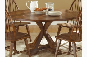 Hearthstone Rustic Oak Drop Leaf Extendable Pedestal Table