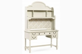 Inspirations Seashell White 3 Drawer Boutique Desk with Hutch