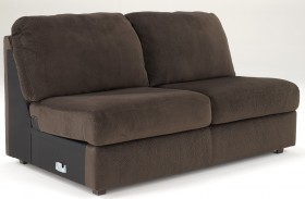 Jessa Place Chocolate Armless Loveseat