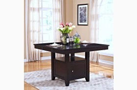 Kaylee Espresso Counter Height Storage Table