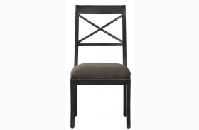 Vintage Tempo Unique Charcoal Upholstered Side Chair Set of 2