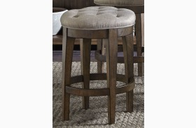 Arlington House Cobblestone Brown Upholstered Backless Barstool Set of 2