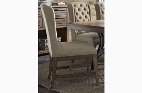 Arlington House Cobblestone Brown Upholstered Host Chair Set of 2
