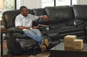 Perez Steel Reclining Loveseat with Console