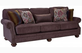 Heuer Walnut Chenille Fabric Sofa