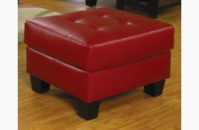 Samuel Red Leather Ottoman - 501834