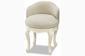 Genevieve French White Swivel Stool