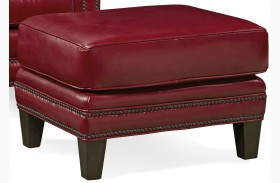 Pendleton Crestview Red Leather Ottoman