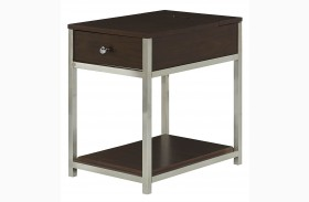 Xpress Sable & Satin Nickel Charging Chairside Table