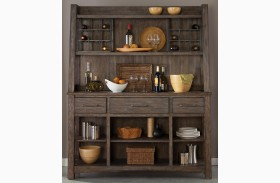 Stone Brook Rustic Saddle Buffet with Hutch