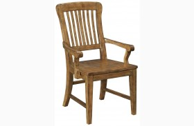 New Vintage Brown Wood Seat Arm Chair