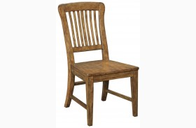 New Vintage Brown Wood Seat Side Chair