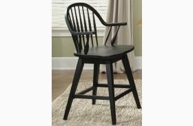 Hearthstone Black 24 Inch Swivel Counter Chair