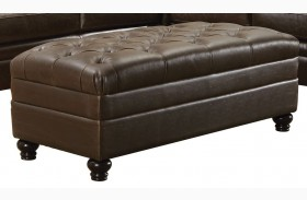 Roy Brown Bonded Leather Match Ottoman