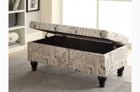 Norah French Script Pattern Storage Ottoman