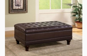 Dark Brown Button Tufted Storage Ottoman 501041