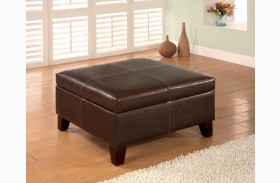 Dark Brown Dark Brown Vinyl Storage Ottoman 501042