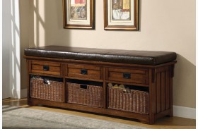 Oak Bench With Baskets/Drawers 501060